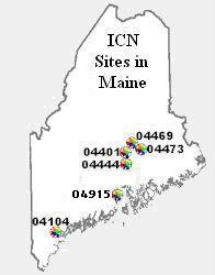 Map of Maine with the ICN locations labeled